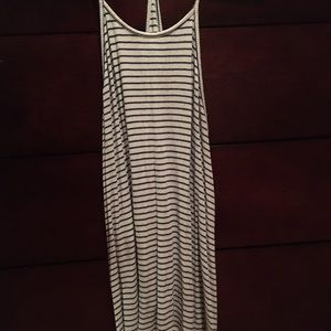 Black and white striped loose fitting tank top